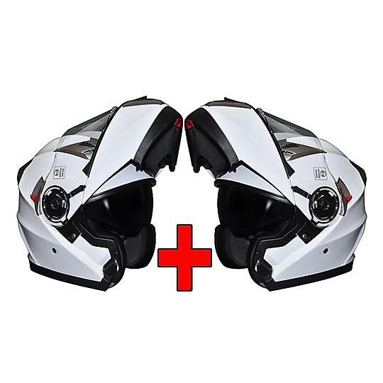ÉCONOMIES DE KIT - Paire de casques modulaires double visière Motocubo blanc brillant 925
