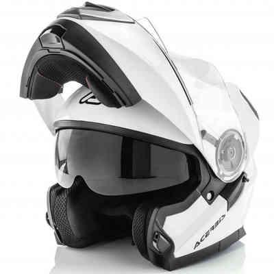 Casco Moto Modulare Acerbis Doppia Visiera Serel Bianco