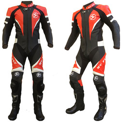 Moto suit Professional Leather Perforated Hy-X8 Black Fly With Red Crescent
