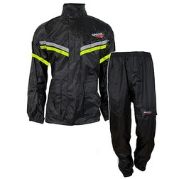 Rain Suit Spark Divisible 2 Pieces With Cap and Copriguanti Black Yellow Fluo