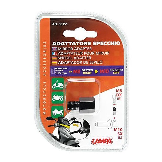 Adapter for Mirrors Motorcycle Lampa 8mm Right to 10mm Left