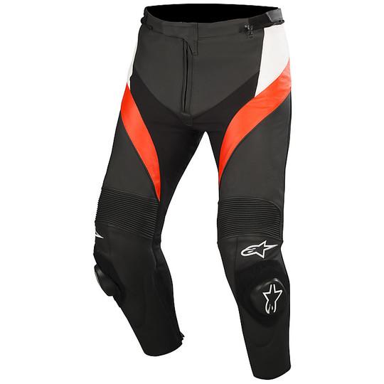 Alpinestars Pantaloni Moto Missile V2 Leather Pants Black White Red Fluo