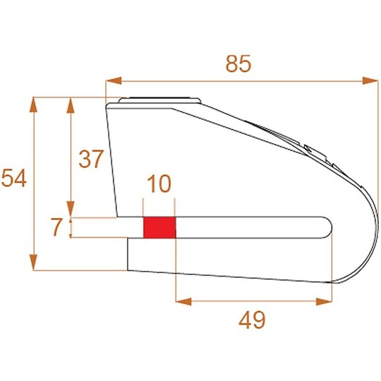 Bloccadisco Moto Con Allarme Sonoro KOVIX Kal10 Acciaio Perno 10 mm