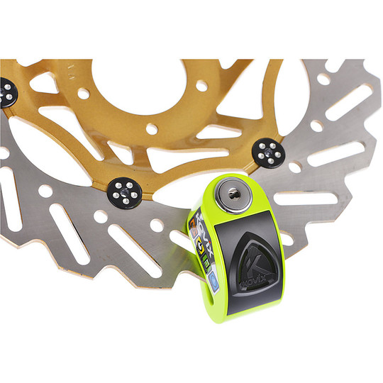 Bloccadisco Moto Con Allarme Sonoro KOVIX KD6 In Lega di Zinco Perno 6 mm Giallo Fluo