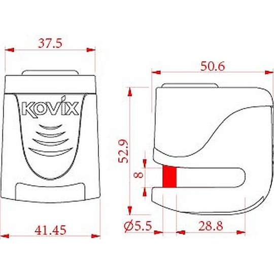 Bloccadisco Moto Con Allarme Sonoro Kovix KS6 perno 5,5mm Arancio Fluo