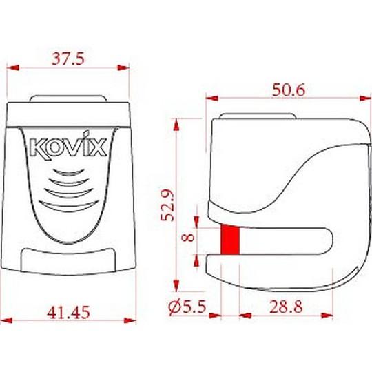 Bloccadisco Moto Con Allarme Sonoro Kovix KS6 perno 5,5mm Giallo Fluo