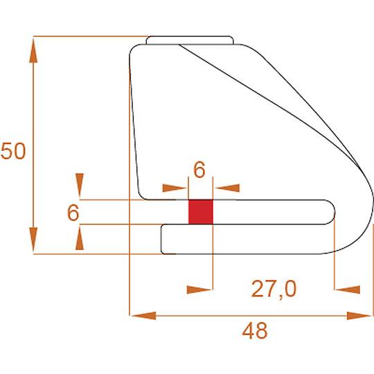 Bloccadisco Moto Mini KOVIX KN In Acciaio Inossidabile Perno 6 mm Arancio Fluo