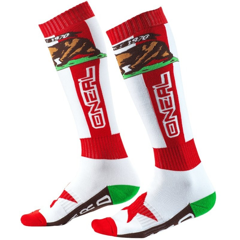 Calze Lunghe Oneal Pro Mx Sock Moto Cross Enduro Mtb California Bianco Rosso