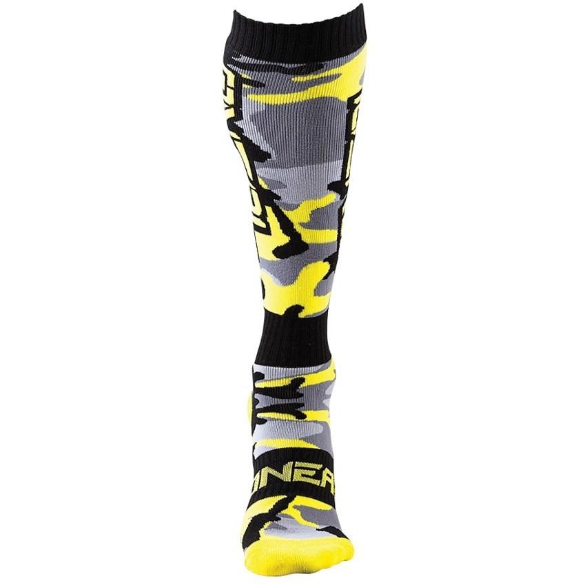Calze Lunghe Oneal Pro Mx Sock Moto Cross Enduro Mtb Hunter Nero Grigio Giallo