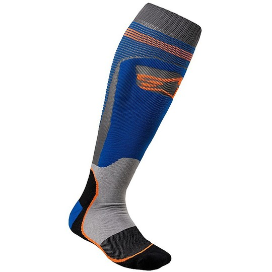 Calze Moto Cross Enduro Alpinestars MX20 MX Plus-1 Socks Blu Arancio Fluo