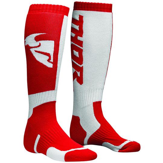 Calze Moto Tecniche Thor S8 Mx Sock 2018 Rosso Bianco