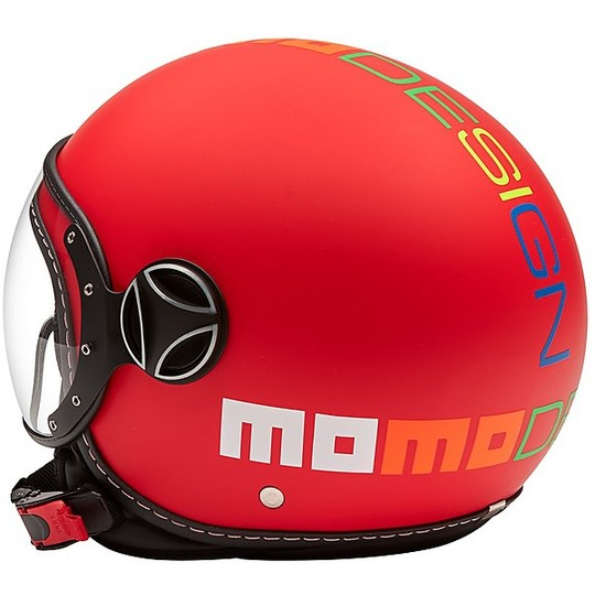 Casco Bambino Moto Jet Momo Design FGTR BABY Rosso Opaco Multicolor