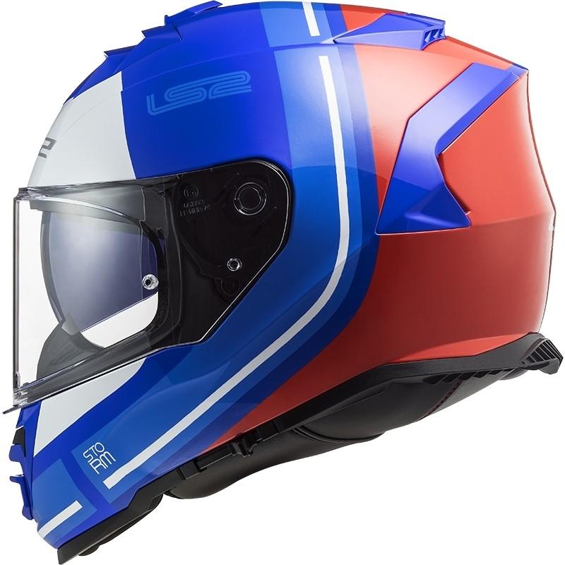 Casco Integrale Moto Doppia Visiera Ls2 FF800 Storm SLANT Blu Arancio Fluo
