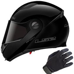 Casco Modulare LS2 Easy FF370 Doppia Visiera Nero Lucido Più Guanti Moto In Tessuto Ls2
