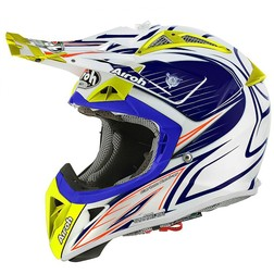 Casco moto Cross Enduro Airoh Aviator 2.1 Linear Bicolor Bianco-Blu Airoh