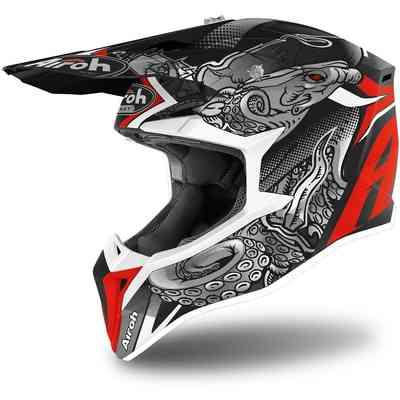 Generico CASCO ONE STAR DA CROSS OFF ROAD MOTARD ENDURO ATV MX MOTO ROSSO NERO GIALLO XS