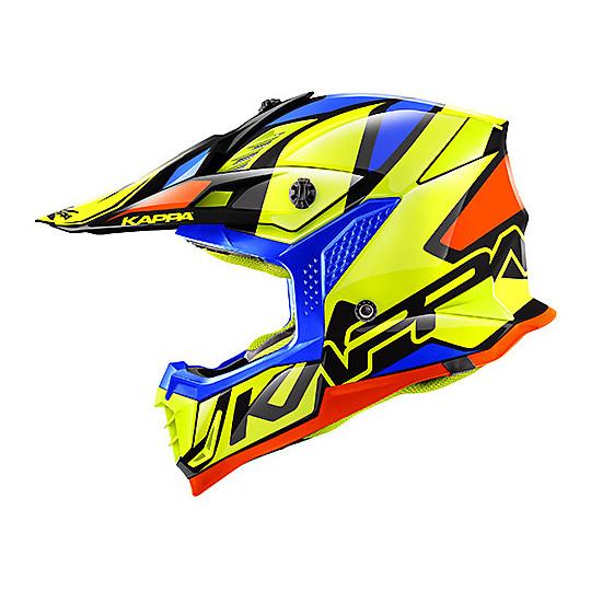 Casco Moto Cross Enduro Kappa KV39 REVERSE Giallo Blu Arancio Nero