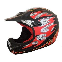 Casco Moto Cross Enduro M.Robert Modello MR400 Skulls Black Matt M.robert