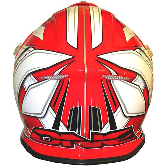 Casco Moto Cross Enduro One Racing Tiger Rosso-Bianco New