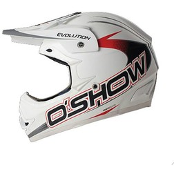 Casco Moto Cross Enduro O'Show Evolution Bianco Opaco In Fibra Leggerissimo Fm racing
