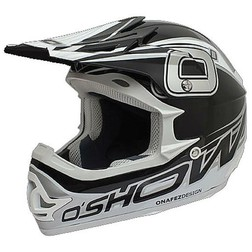 Casco Moto Cross Enduro O'Show Evolution Nero-Argento In Fibra Leggerissimo Fm racing