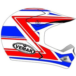 Casco Moto Cross Enduro Vemar Modello Vrx-5 In Fibra tricomposita Veteran Red-Blu Vemar