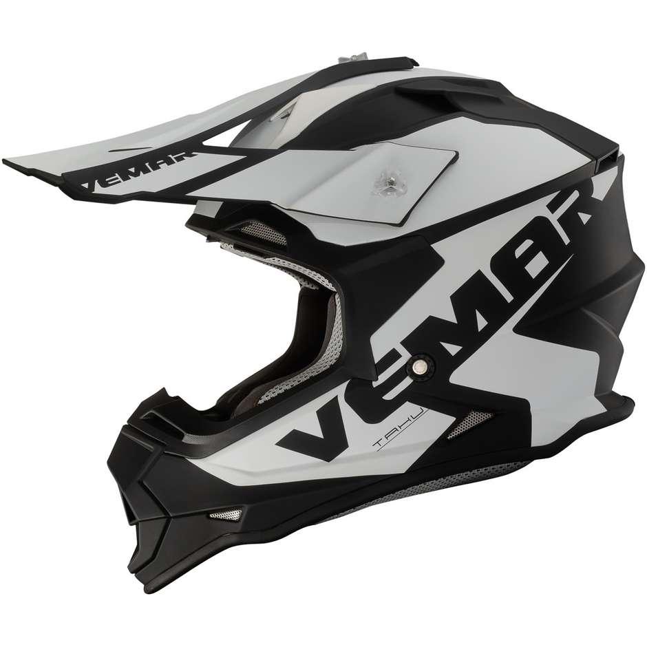 Casco Moto Cross Enduro Vemar VH TAKU Blade Nero Bianco