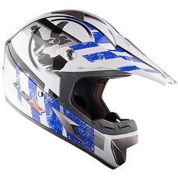 Casco moto cross LS2 MX433 Stripe Bianco Blu Ls2