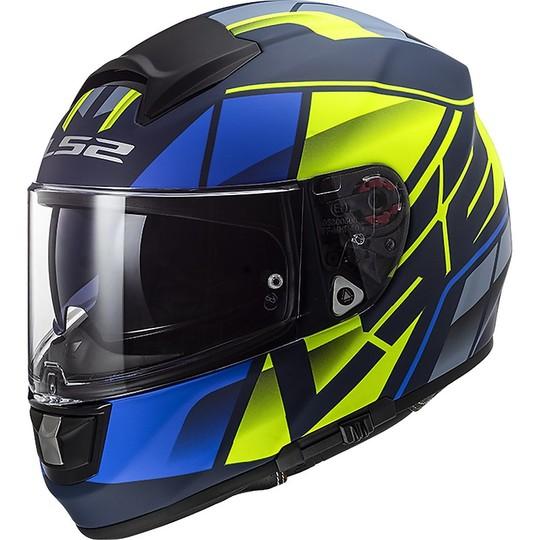Casco Moto In Fibra HPFC LS2 FF397 VECTOR Kripton Blu Giallo Opaco