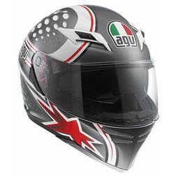 Casco Moto Integrale Agv Skyline Doppia Visiera Multi Psyco White-Gunmetal-Red Agv