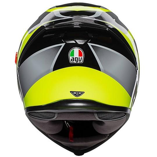 Casco Moto Integrale in Fibra AGV K-5 S Multi TYPHHON Nero Giallo Fluo
