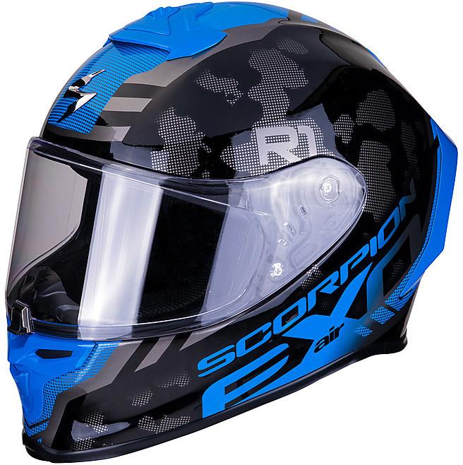 Scorpion Casco moto EXO-710 AIR Mugello Opaco Nero-Neon Giallo-Argento L