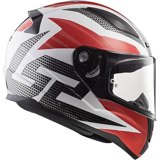 Casco Moto Integrale Ls2 FF353 Rapid Grid Bianco Rosso