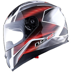 Casco Moto Integrale Ls2 FF384 II Saga Bianco Rosso Doppia Visiera Ls2