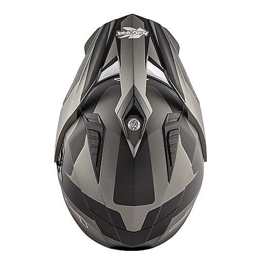 Casco Moto Integrale Touring Kappa KV30 Enduro Flash Titanio Opaco Nero