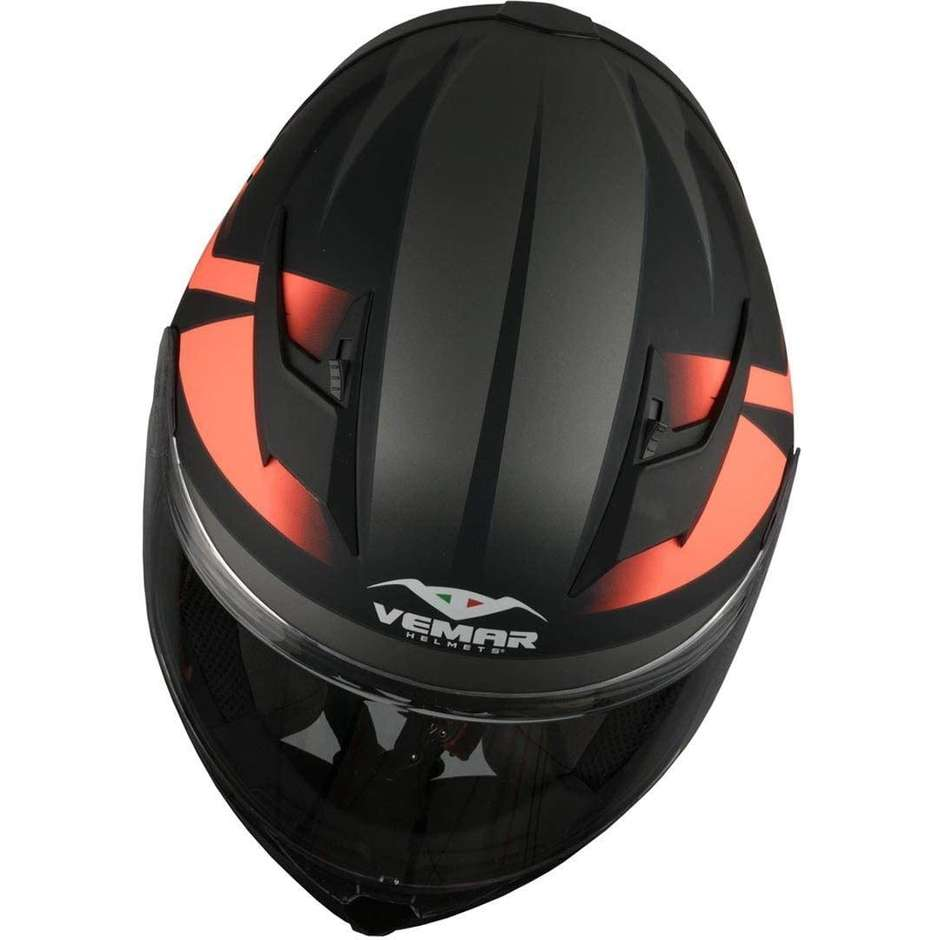 Casco Moto Integrale Vemar VH Ghibli Base Nero Arancio Fluo