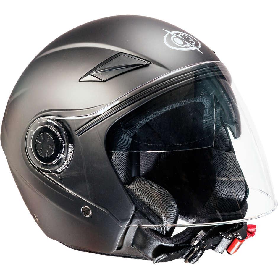 Casco Moto Jet Doppia Visiera One Alfa Nero Opaco