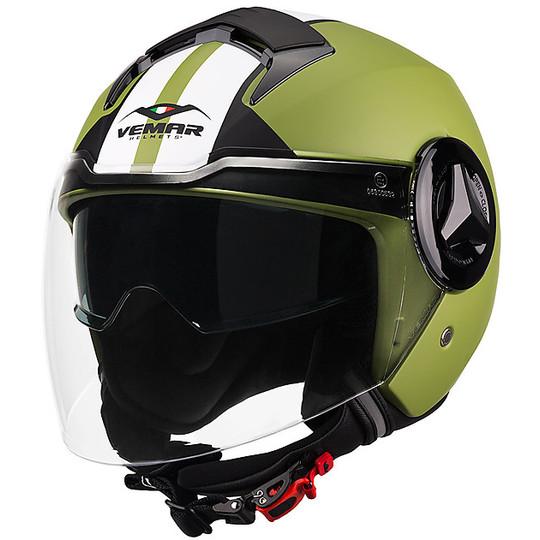 Casco Moto Jet  Doppia Visiera Vemar JY05 BREEZE Verde