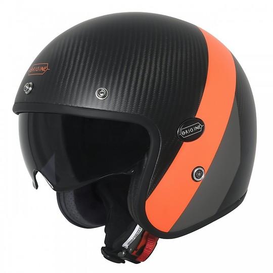 Casco Moto Jet In Fibra di Carbonio Origine SIRIO CRONO Nero Opaco Arancio