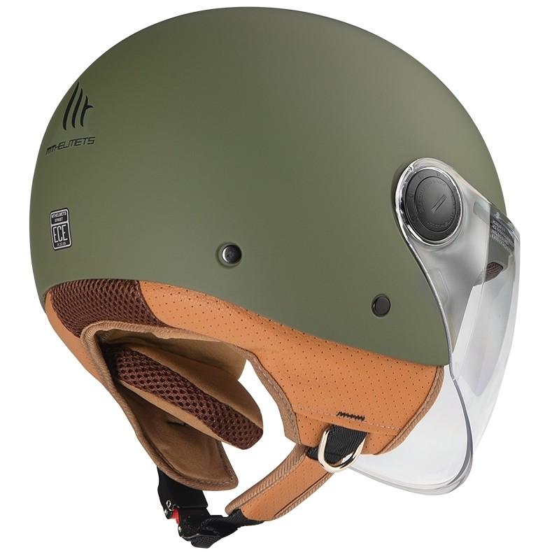 Casco Moto Jet MT Helmets STREET A6 Solid Verde Opaco