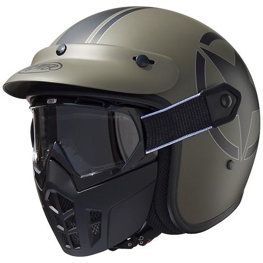 Casco Moto Jet Premier Vintage In Fibra Mask Star Military BM