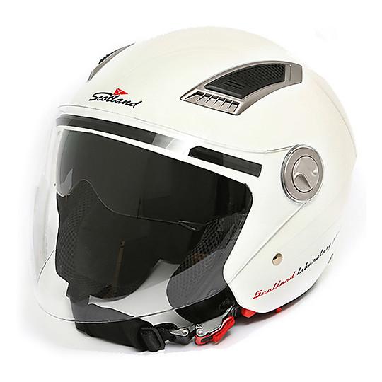 Scotland Casco da Moto con Visiera Lunga M Bianco Taglia 57