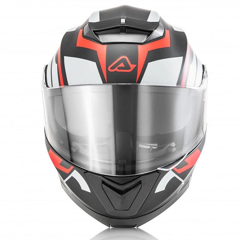 Casco Moto Modulare Acerbis Doppia Visiera Serel Multi Nero Rosso Grigio