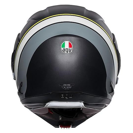 Casco Moto Modulare AGV Compact ST BOSTON Nero Opaco Grigio Giallo Fluo