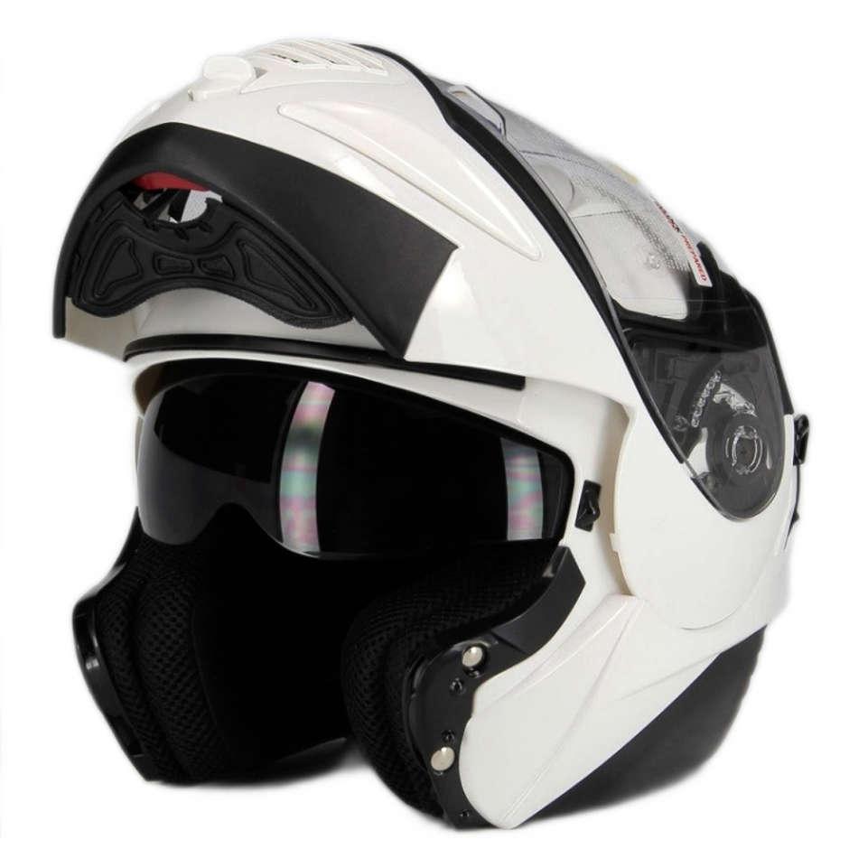 Casco Moto Modulare Apribile Premier Doppia Visiera Thesis Bianco Lucido