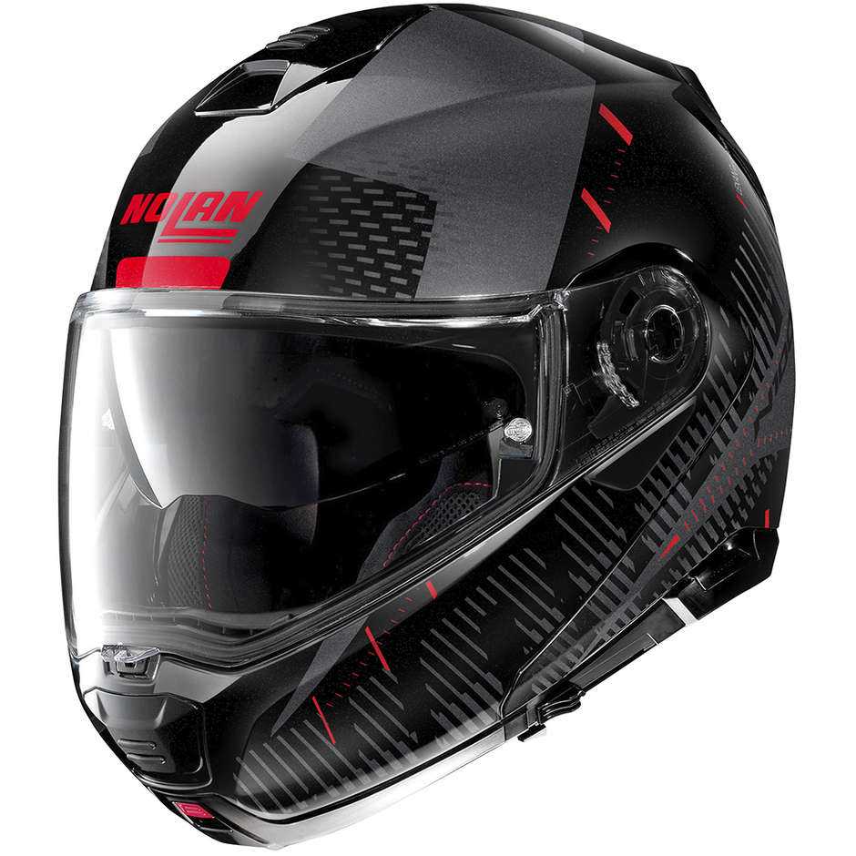 Casco Moto Modulare Omologazione P/J Nolan N100.5 LIGHTSPEED N-Com 054 Nero Metal Rosso