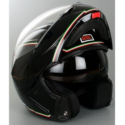 Casco Moto Modulare Origine Riviera Doppia Visiera Tricolore Nero Origine