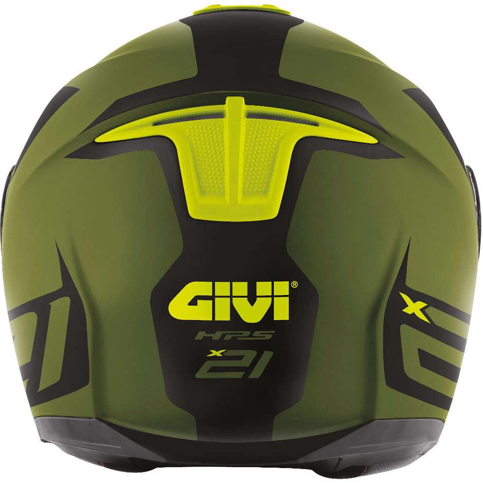 Casco Moto Modulare P/J Givi X.21 CHALLENGER Spirit Verde Opaco Nero Giallo Fluo