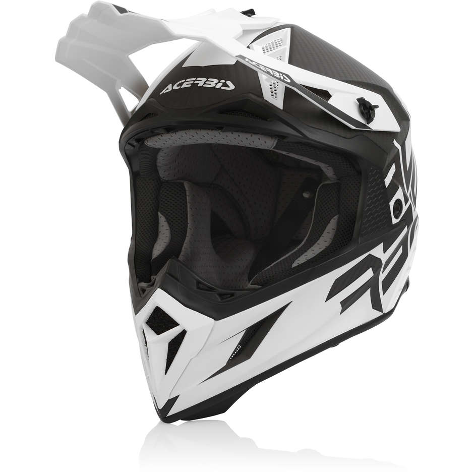 Casque de moto Cross en Acerbis STEEL Carbon White Black