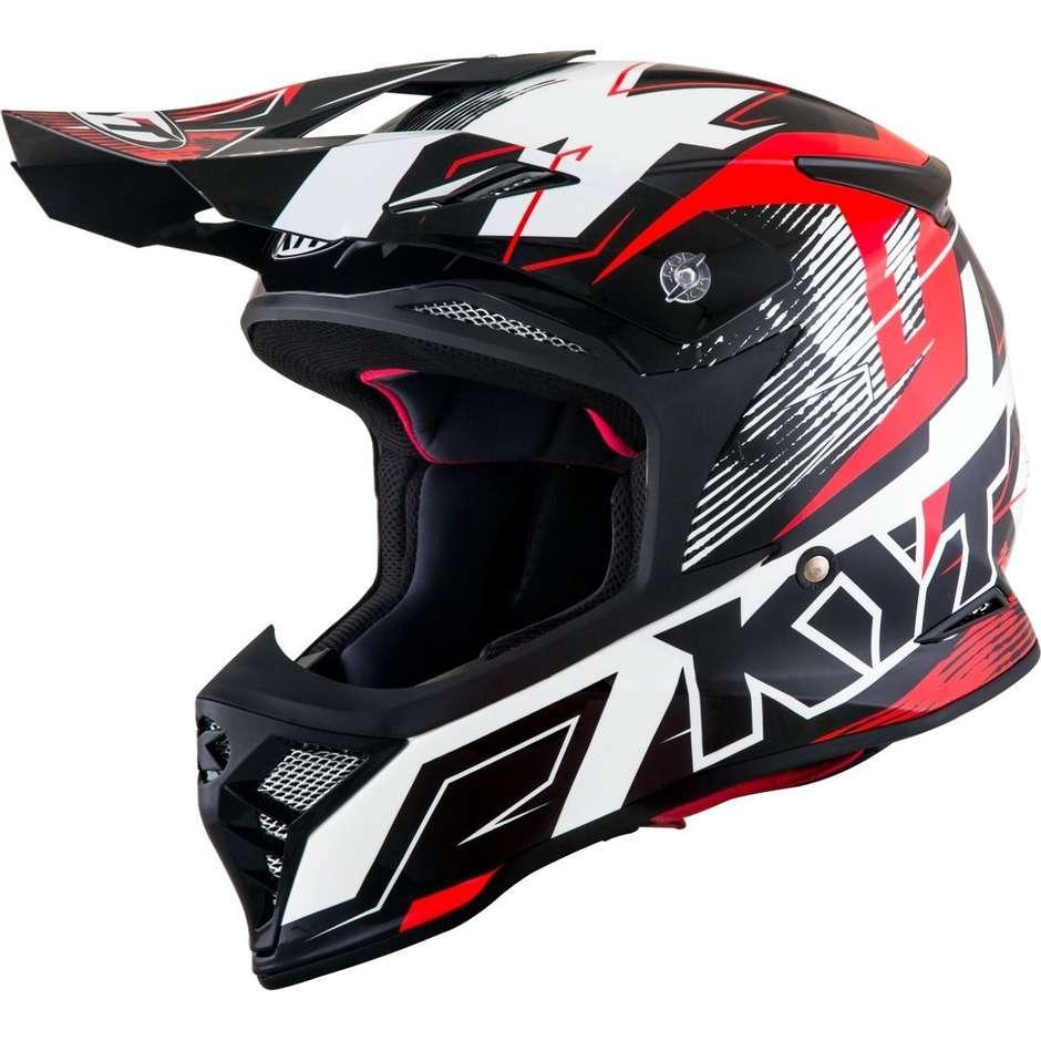 Casque de moto Cross Enduro en KYT SKYHAWK DIGGER Blanc Rouge Fibre